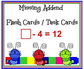 PRINTABLE Missing Addend Task Cards - Flash Cards Addition & Subtraction