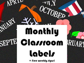PRINTABLE Monthly Classroom Labels ~ CHALKBOARD THEME!