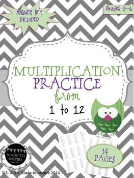 PRINTABLE Multiplication Practice 1 to 12 Packet with Answer Key