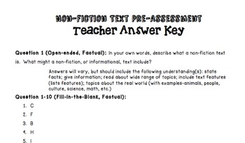 PRINTABLE Non-fiction Text Pre Assessment and Answer Key