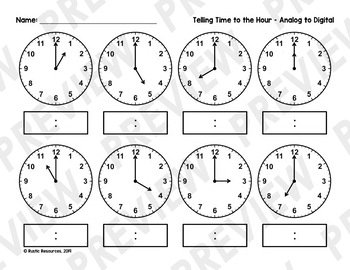 PRINTABLE - Telling Time to the Hour And Half-Hour Activities Pack