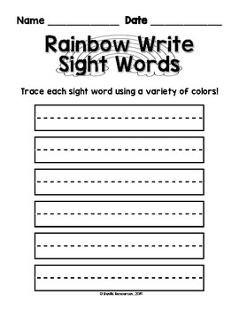 PRINTABLE - Weekly Sight Word Activities