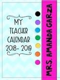PRINTABLE and EDITABLE 2018-2019 Teacher Academic CALENDAR/ PLANNER