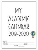 PRINTABLE and EDITABLE 2019-2020 Teacher Academic CALENDAR/ PLANNER