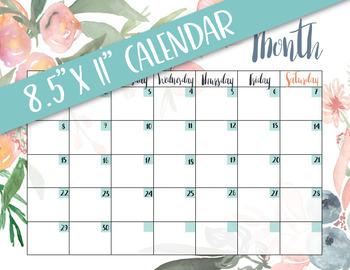 PRINTABLE blank monthly calendar - peachy floral