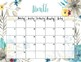PRINTABLE blank monthly floral calendar - teal & gray