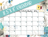 PRINTABLE blank monthly floral calendar - teal & gray