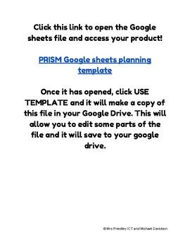 PRISM maths planner on Google Sheets