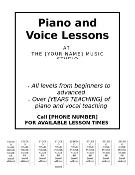 PRIVATE MUSIC STUDIO ADVERTISEMENT TEMPLATE (WITH PULL OFF TABS!)