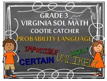PROBABILITY LANGUAGE COOTIE CATCHER VIRGINIA SOL Grade 3