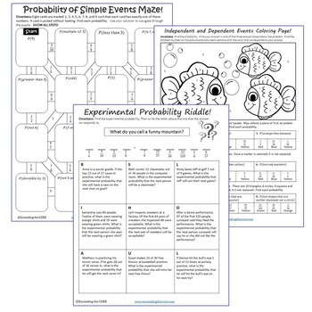 probability maze riddle coloring page fun math activities tpt. Black Bedroom Furniture Sets. Home Design Ideas