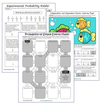 PROBABILITY  Maze, Riddle, Color by Number (Fun MATH Activities)
