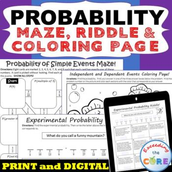 PROBABILITY  Maze, Riddle, Coloring Page (Fun MATH Activities)