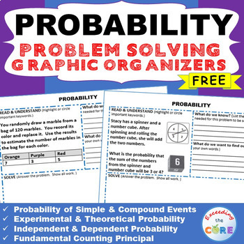 Free PROBABILITY WORD PROBLEMS with Graphic Organizer