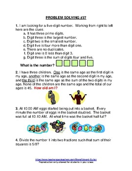 PROBLEM SOLVING ACTIVITIES - BOOK #2 (26 - 50)