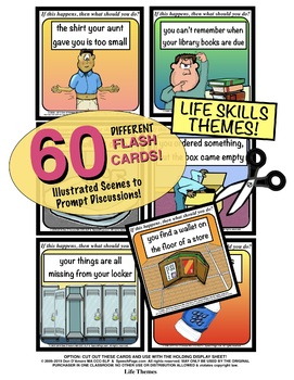 PROBLEM SOLVING ILLUSTRATED! LIFE SKILL TOPICS!  60 Cards! Problems & Questions!