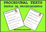 PROCEDURAL TEXTS- TEXTOS DE PROCEDIMIENTOS (English & Spanish)