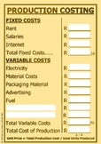 PRODUCTION COSTING - FIXED AND VARIABLE COSTS - POSTER