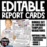 EDITABLE Report Cards, Progress Reports, My First Report C