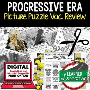PROGRESSIVE ERA Picture Puzzle Unit Review, Study Guide, T
