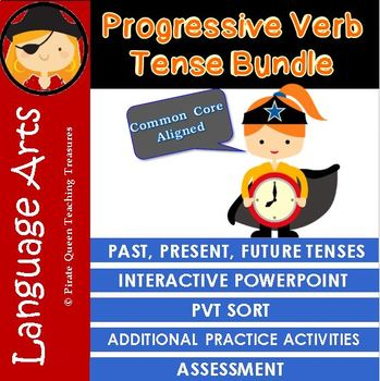 PROGRESSIVE VERB TENSE BUNDLE/CCSS Aligned 4th Grade Up