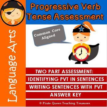 PROGRESSIVE VERBS Writing Assessment CCSS Aligned