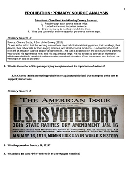 PROHIBITION: PRIMARY SOURCE ANALYSIS