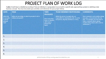 PROJECT PLAN OF WORK LOG (Instructions Included)
