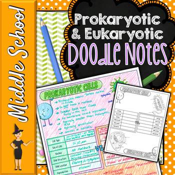 PROKARYOTIC AND EUKARYOTIC CELLS SCIENCE DOODLE NOTES, INTERACTIVE NOTEBOOK