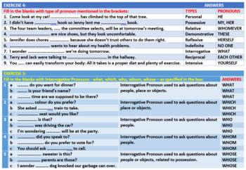 PRONOUN TYPES: WORKSHEETS WITH ANSWERS