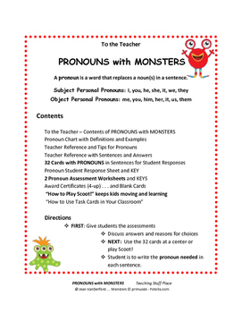 PRONOUNS | MONSTERS | SCOOT GAME Task Cards | Tips | Examples | Gr. 3-4-5 CORE