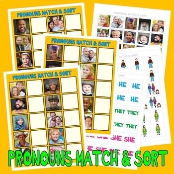 PRONOUNS MATCH & SORT w/ 60 PeCs PictUrE CaRdS DiGiTaL DoWnLoAd speech autism