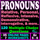 Pronouns. Relative Pronouns, Personal Pronouns. 5th & 6th Grade ELA Test Prep