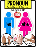 """PRONOUNS Task Cards HE and SHE """"Task Box Filler"""" for Speci"""