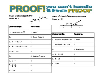 PROOF! You  Can't Handle the Proof! (angles & segments)