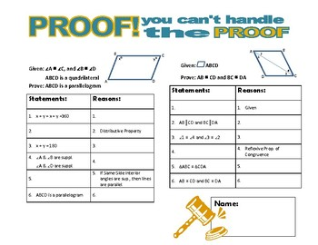 PROOF! You  Can't Handle the Proof! (parallelograms)