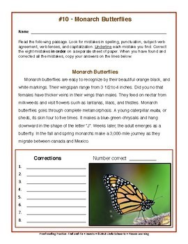 PROOFREADING PRACTICE • FIND AND FIX: INSECTS