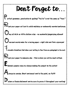 PROOFREADING TIPS FOR STUDENTS *FREE PRINTABLE*
