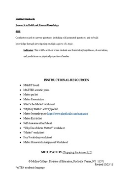 PROPERTIES OF MATTER 4TH GRADE FULL LESSON PLAN! 45 PAGES WITH WORKSHEETS