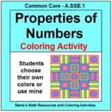 PROPERTIES OF NUMBERS: ALGEBRA COLORING ACTIVITY # 2