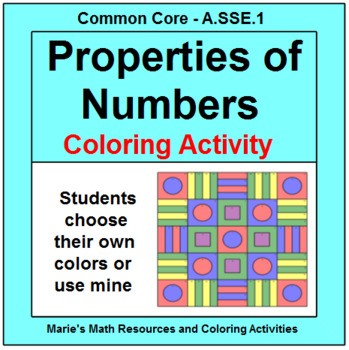 PROPERTIES OF NUMBERS: ALGEBRA COLORING ACTIVITY # 2 | TpT
