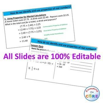 PROPERTIES OF REAL NUMBERS PowerPoint Presentation