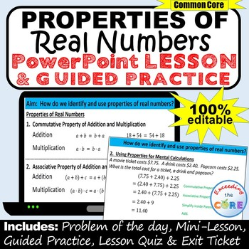 PROPERTIES OF REAL NUMBERS PowerPoint Mini-Lesson & Guided Practice