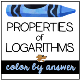 PROPERTIES of LOGARITHMS - color by number