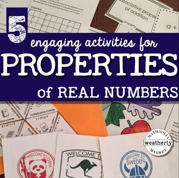 PROPERTIES of REAL NUMBERS - a bundle of FIVE ACTIVITIES