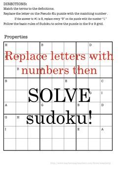 PROPERTIES of REAL NUMBERS pseudo-ku