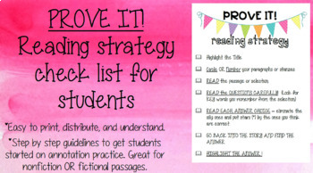PROVE IT Reading Strategy Sheet