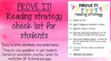 PROVE IT Reading Strategy Sheet