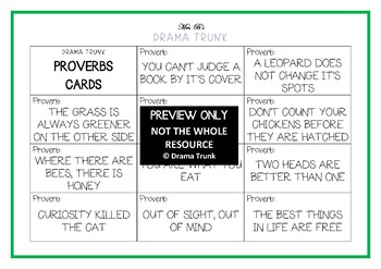 PROVERBS Drama / English Cards (+ suggested drama activities)