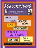 PSEUDONYMS - Explanation page, Research, Creative Writing, Teacher Notes